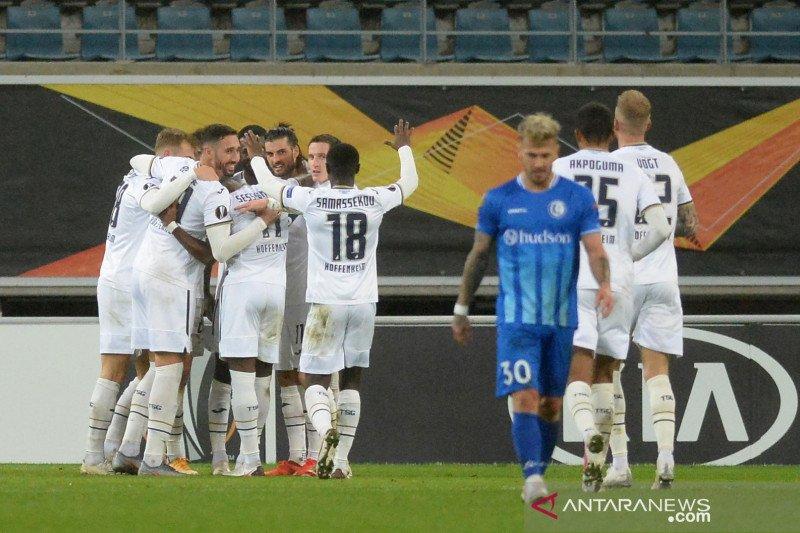 Hoffenheim memetik kemenangan 4-1 di markas Gent, pada pertandingan kedua Grup L Liga Europa 2020/2021