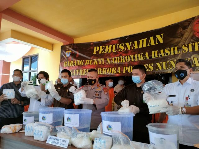 Sabu asal Malaysia sebanyak 18,388 Kg dimusnahkan di Polres Nunukan